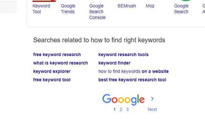 find keywords from google related search